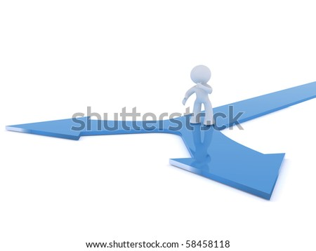 Decision point at crossroads. Image isolated on a white back ground