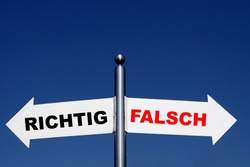 decision right or wrong - german sign