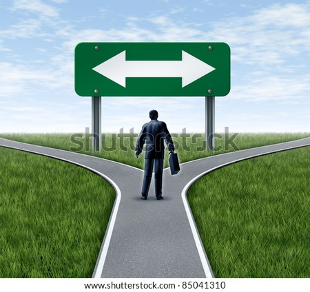 Decision time for a career with a business man at a cross roads  and road sign with arrows showing a fork in the road representing the concept of direction when facing two equal or similar options.