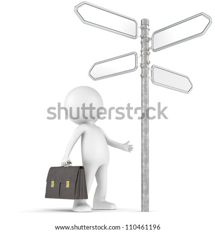 Decisions. 3D little human character the Businessman infront of a 4-way Street Sign. People series.
