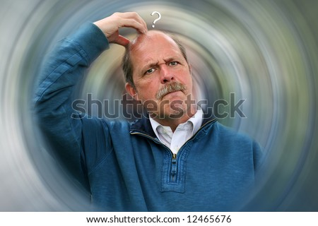 Decisions to be made vortex concept with Puzzled Man scratching head