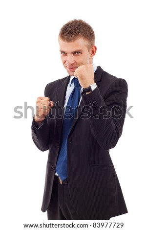 decisive action for business - businessman fighting on white background