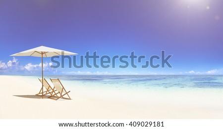 Deck chair on the tropical beach. #409029181