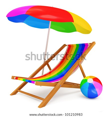 Deck Chair with Sunshade and Colorful Beach Ball isolated on white background