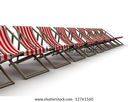 deck chairs - stock photo