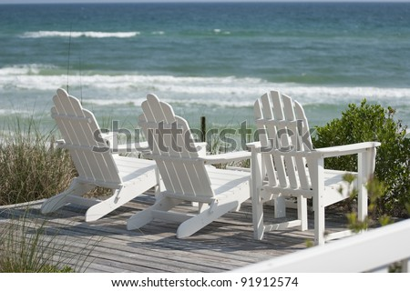 Deck Chairs at the Beach - stock photo