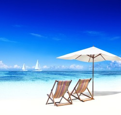Deck Chairs on Tropical Beach with 3D Sailboats