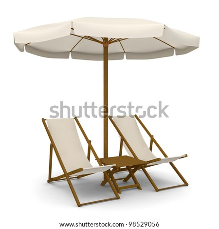 Deck chairs with beach umbrella and table #98529056