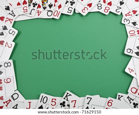 Deck of cards used as a border - stock photo