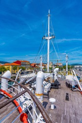 Deck of Gil Eannes rescue ship moored at Viana do Castelo in Portugal