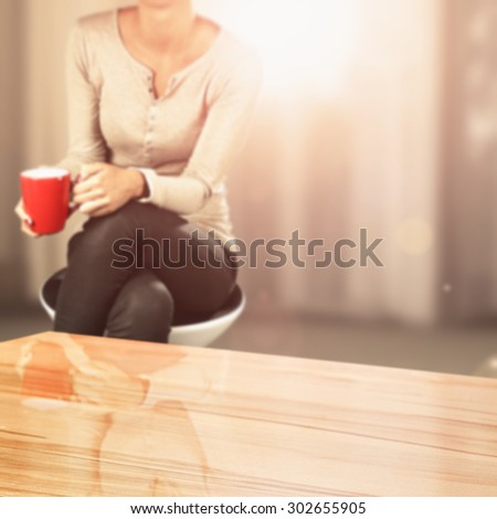 deck of space for your decoration and woman with red mug in hand