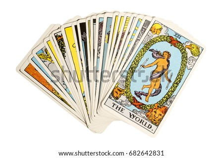 Deck of Tarot cards on white background ; THE WORLD.. #682642831