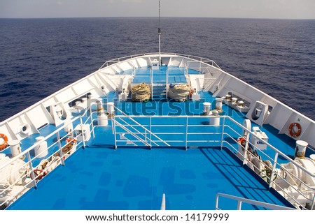 Deck of the ocean and sea passenger ship. Sea. Sky.