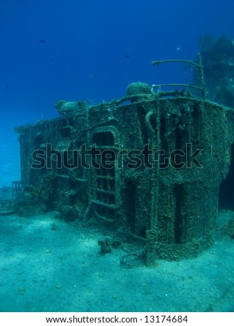 Deck of the sunken ship Tibbits in Cayman Brac