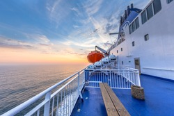Deck on Ferry sailing across the Northsea during beautiful sunset