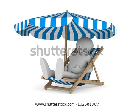 Deckchair and parasol on white background. Isolated 3D image