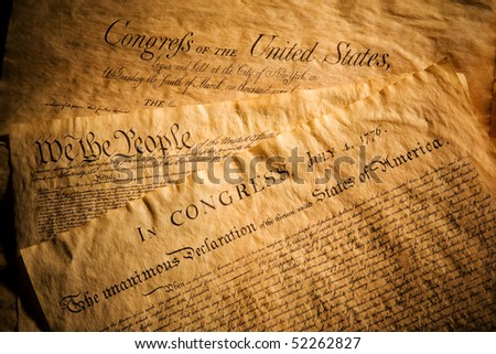 Declaration of Independence, Constitution and Bill of Rights, three of the most important documents in the history of the United States of America - stock photo