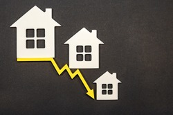 decline in property prices. population decline. falling interest on mortgages. reduced demand for home purchases, low prices for utilities. arrow to down.