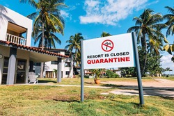 decline in tourist flow due to covid-19 pandemic. Banning sign of quarantine. Impact of coronavirus on tourism industry and beach holidays. Quarantine and control of tourists infected with coronavirus