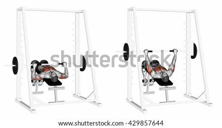 Decline Smith Machine Bench Press. 3D illustration