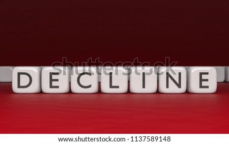 Decline word on white cubes in black letters on a red background. 3d rendering.