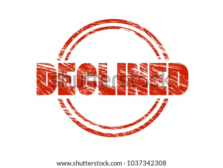 declined red vintage rubber stamp isolated on white background