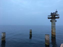 Decommissioned oil gas platform, North Sea
