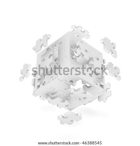 Stock Photo Decomposed cube of puzzle on white background