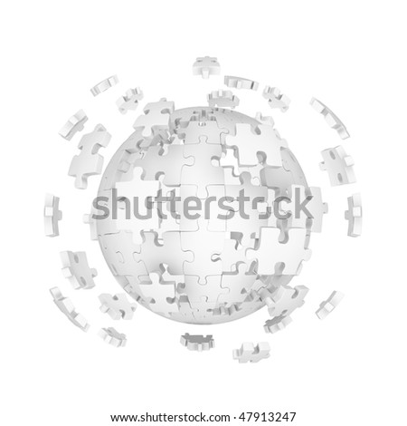 Decomposed sphere of puzzle on white background - stock photo
