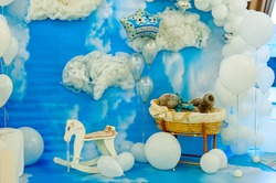 decor, Decoration, The photo zone, Children's holiday, Teddy bear, sky,Toys, Children's room  interior , White clouds