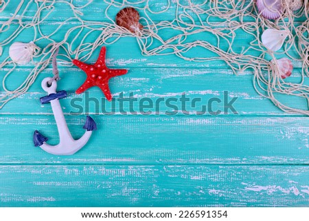 Decor of seashells close-up on blue wooden table #226591354