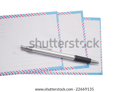 decor on a pen and cover letters