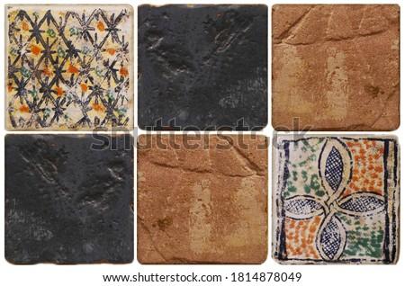 Decor tiles. Tile texture on the wall. Decorative insert. Mosaic art. Roman style. Arhitectural tile insert. Imagine de stoc ©