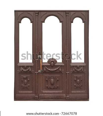 decor vintage wooden door. Isolated over white