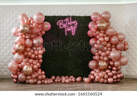 decor with balloons of pink , gold and rose gold collars/ text birthday party