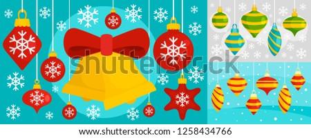 Decorate Christmas tree toys banner set. Flat illustration of decorate Christmas tree toys banner set for web design
