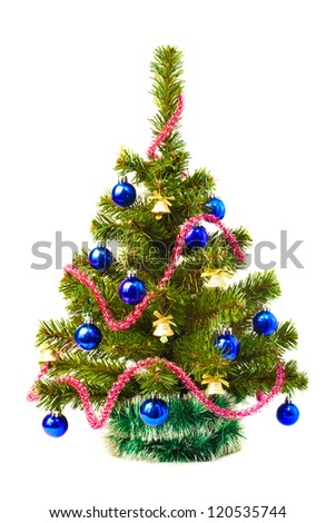 Decorated artificial Christmas tree on a white background
