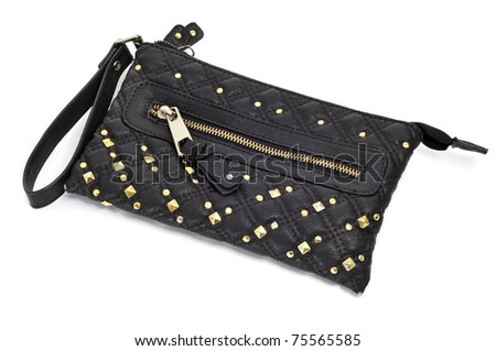 decorated black purse on a white background