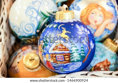 Decorated Christmas balls. Christmas tree decorations and decorations in the design.