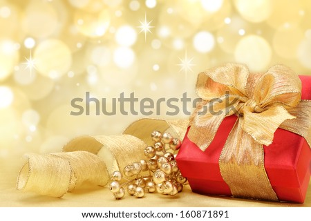 Decorated Christmas gifts on abstract background