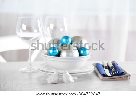 Decorated Christmas table setting. Christmas menu concept #304752647