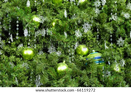 Decorated Christmas tree abstract green background