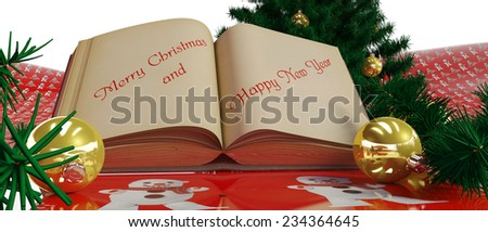 Decorated Christmas tree,book and decorations for Christmas tree