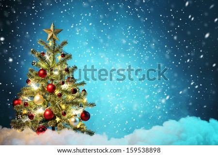 Decorated Christmas tree in snowy night,Concept.