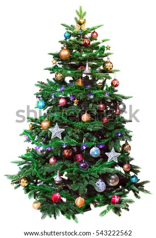 decorated Christmas tree isolated on white background - Shutterstock ID 543222562