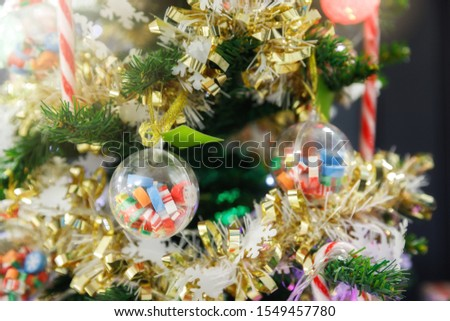 Decorated Christmas tree lights twinkling and sparkling. #1549457780