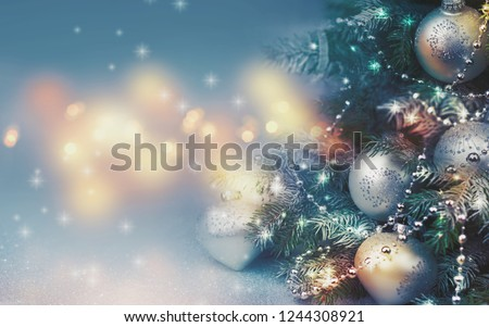 Decorated Christmas tree on blurred background. #1244308921