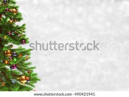 Decorated christmas tree on bokeh background. 3D render. #490421941