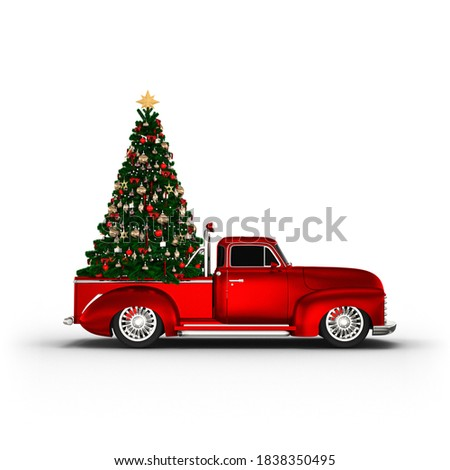 Decorated Christmas Tree on the red classic pickup truck car, photorealistic 3D Illustration, isolated on the white background.