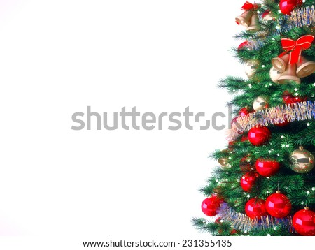 Decorated Christmas tree on white background #231355435